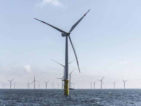 A photo of the Butendiek Offshore Wind Power Plant
