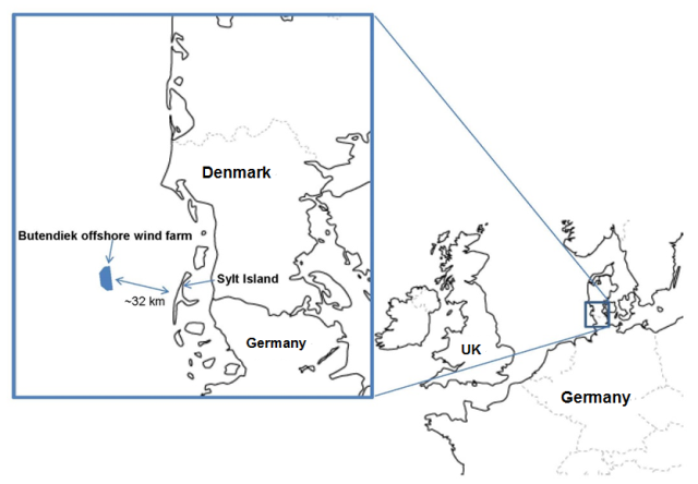 Map of the Butendiek Offshore Wind Power Plant